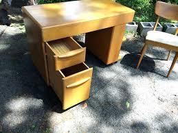 heywood wakefield kneehole desk desk and chair drawers open vintage heywood wakefield kneehole desk