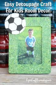 easy decoupage craft idea for kids soccer memory frame gym
