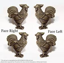 Antique Cabinet Pulls 188 2 Pairs Vintage Rooster Cabinet Knobs Door Brass Drawer Pull