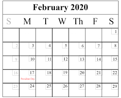 Blank February 2020 Calendar Printable Template Pdf Word