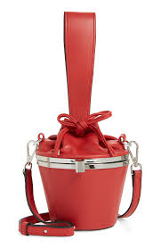 top aly faux leather bucket bag red