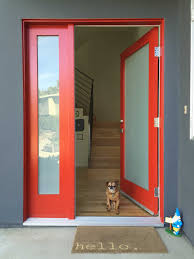 glass front door designs. Fancy Design Home Exterior Door Ideas Featuring Red Color Front And Frosted Glass Designs