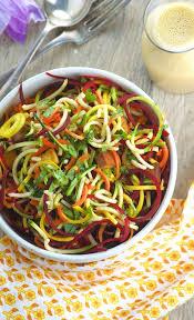 spiralized veggie noodles with peanut sauce