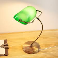 Brass Coloured Table Lamp Selea Green Glass Shade Lightsie