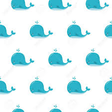 Cute Background With Cartoon Blue Whales Baby Shower Design