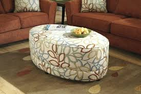 tan leather ottoman coffee table living room table round fabric