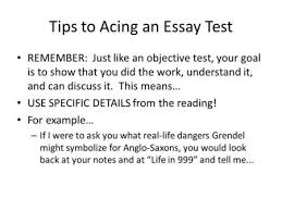 definition essay handout objective to jigsaw readings of  tips to acing an essay test remember just like an objective test your goal