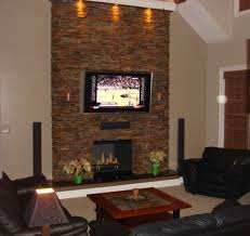 thin stone used for fireplace extending to ceiling