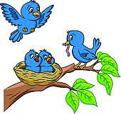 bird nest clipart. Wonderful Bird Bird Bird Family And Nest Clipart C