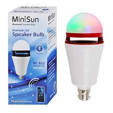 Minisun 18733 3w Bc Led Bulb With Bluetooth Speaker Colour Changing