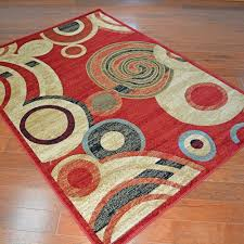 delectably yours com city circles red area rug 4 39 x 5
