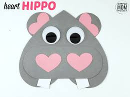 Free Craft Printables Templates Simple Diy Valentines Day Hippo Craft With Free Printable