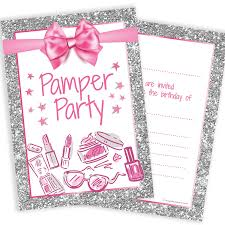 Olivia Samuel Pamper Party Invitations Girl Teen Birthday Invites Pink And Photo Effect Silver Glitter Effect A6 Postcard Size With Envelopes