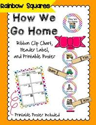 How We Go Home Chart Printable How We Go Home Clip Chart Colorful Rainbow Theme Classroom