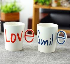 2pcs/lot Couple Ceramic cup Creative Coffee Mug LOVE&SMILE Painting Milk  Cup Office Coffee Cup