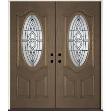reliabilt calista oval lite decorative glass right hand inswing walnut stained fiberglass prehung double entry