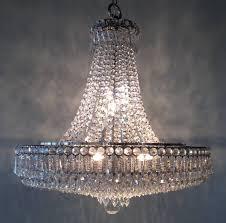 strauss austrian crystal waterfall design hollywood regency chandelier polished nichol finish clear crystals multiple layer