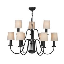 pigalle large 9 light black chandelier with linen shades