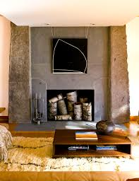 fireplace decoration with birch logs