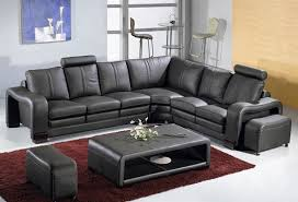 Modern Leather Sectional Sofa Set Table TOS LF 3330 BLACK
