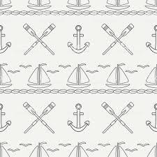 フラット ライン モノクロ ベクターのシームレスなパターン海ボート帆