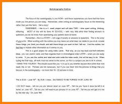 Auto Biography Sample Autobiography Example Outline Template Sample