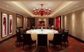 red chandelier shades for luxury dining room with extra large round table and recessed lighting ideas