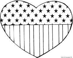 Small Picture Flag Usa In Heart Shape America Coloring Pages Printable