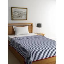 Buy Pluchi Navy Blue White Striped Ac Room 550 Gsm Single