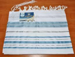 Tallit Prayer Shawl New Acrylic Light Blue Silver Model