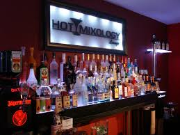 hotmixology lounge liquor display floating wall shelves