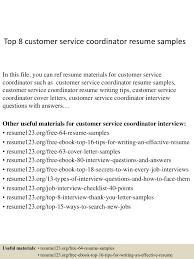 Service Coordinator Resumes Top 8 Customer Service Coordinator Resume Samples