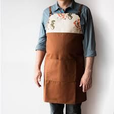 kitchen apron. man wearing a tan work kitchen apron cotton u0026 leather handmade in canada