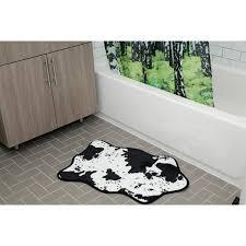 cowhide bath rug black white image 1