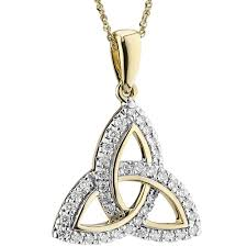 irish necklace 14k gold diamond encrusted trinity knot pendant