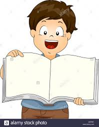 ilration of kid boy holding an open blank book