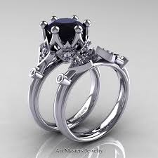 diamond solitaire wedding sets. modern antique 14k white gold 3.0 carat black and diamond solitaire wedding ring set r514s sets n