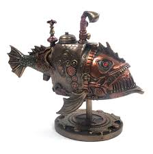 sub piranha steampunk sculpture 22 5cm pink cat