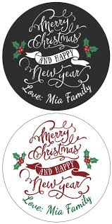 Set Of Personalized Name Merry Christmas And Happy New Year Stickers
