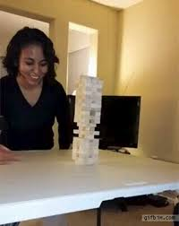 girl does amazing jenga move