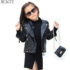 big mcagtz new spring brand girls leather jacket fashion kids faux leather jacket girls coats zipper girls motorcycle jacket 2 10t 2v 3b4p