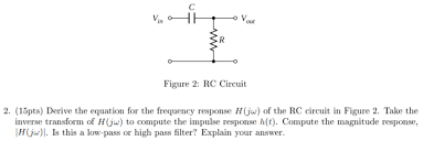 Solved Derive The Equation For The Frequency Response H J