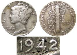 1942 Half Dollar Value Chart 1942 D Mercury Silver Dime 42 Over 41 Coin Value Prices