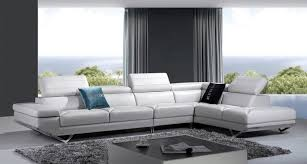 modern living room idea white sectional with adjustable headrestetal bases black and blue throw
