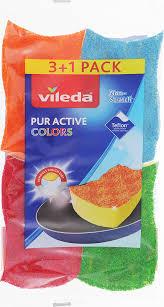 <b>Губка Vileda</b> Пур Колорс, 3+1 шт — купить в интернет-магазине ...
