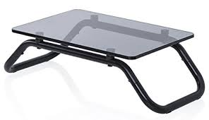 fitueyes tempered glass computer monitor riser printer stand 5 2 high 19 2 save space desktop stand for xbox one component flat screen tv fdt103801gt