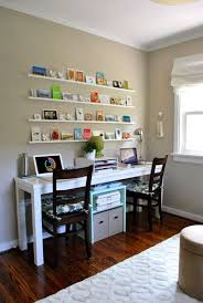 office desks for two. love this small office set up for 2 plus the changeable wall art is pretty desks two