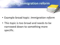 how to narrow a research topic 3 topic immigration reform•