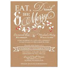 44363 Rectangle Eat Drink And Merry Wedding Invitation Kraft Paper