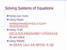 solving system of equations matlab jennarocca